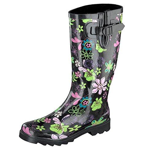 GOSCH SHOES SYLT Mujer Caña larga Botas de agua 7109-501-9 negro, Flower Power Negro