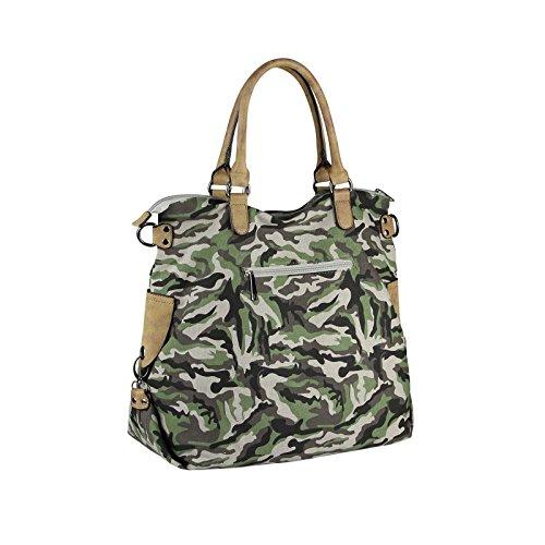 OBC DAMEN MILITARY TASCHE Shopper Camouflage Patches Handtasche Canvas Schultertasche Umhängetasche Army Damentasche Sticker Reisetasche Beuteltasche DIN-A4 Khaki Army-Grau O3ZOe8u