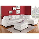 Acme 51175 Kiva White Bonded Leather Reversal Chaise Sectional Sofa