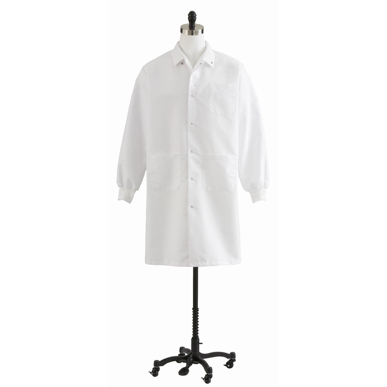 Medline 87026QHWXS Unisex Knit Cuff Knee Length Lab Coat, XS, 42'' Length, White