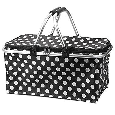 Iwotou Insulated Folding Cooler Picnic Basket Bag (Black)