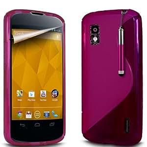 (Rosa) LG E960 Google Nexus S Línea Onda Protectora Gel piel cubierta retráctil Capacative Pantalla Táctil Lápiz Óptico & 6 Pack Protector de pantalla LCD Protector de Fone-Case