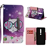 Nokia 6.1 Case, Nokia 6 2018 Case, Love Sound Large Buckle Design [Wrist Strap] [Stand Feature] [Card/Cash Slots] Premium PU Leather Wallet Flip Protective Case Cover – Cat Eyes