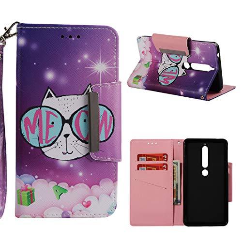 Nokia 6.1 Case, Nokia 6 2018 Case, Love Sound Large Buckle Design [Wrist Strap] [Stand Feature] [Card/Cash Slots] Premium PU Leather Wallet Flip Protective Case Cover – Cat Eyes