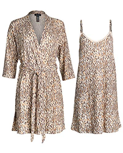 Rene Rofe Womens Lightweight Soft-Stretch Hacci Knit Robe and Chemise Nightgown Set (Light Leopard, X-Large)'