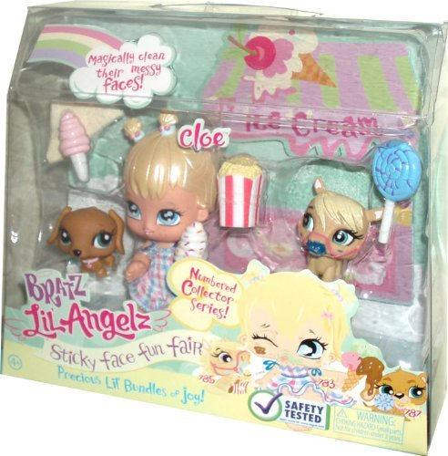 Bratz Lil Angelz Numbered Collector Series Sticky Face Fun Fair Set - Cloe (# 783), Pony (# 785) and Daschund (#787) Plus Lollipos, Ice Cream with Cone (X2), Popcorn and Wipe Cloth