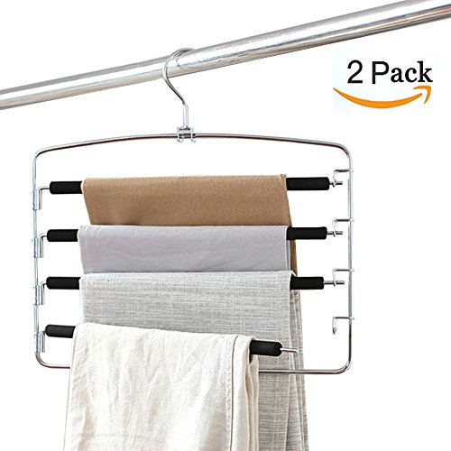 Clothes Pants Hangers 2pack - Multi Layers Metal Pant Slack Hangers,Foam Padded Swing Arm Pants Hangers Closet Storage Organizer for Pants Jeans Scarf Hanging