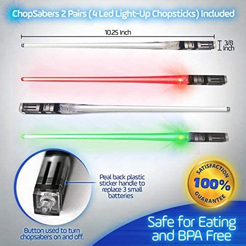 ChopSabers Sable de luz de LED se encienden los Palillos 2 Par Rojo Verde