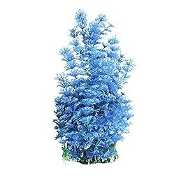 Uxcell Plastic Aquarium Plant/Grass Decorative, Blue/White