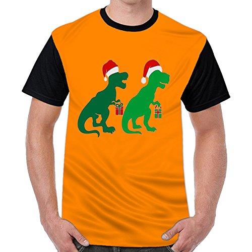 Luckydoor T Rex Dinosaur Santa Hat Men Printing O-Neck t Shirts Short Sleeve T-Shirt Orange