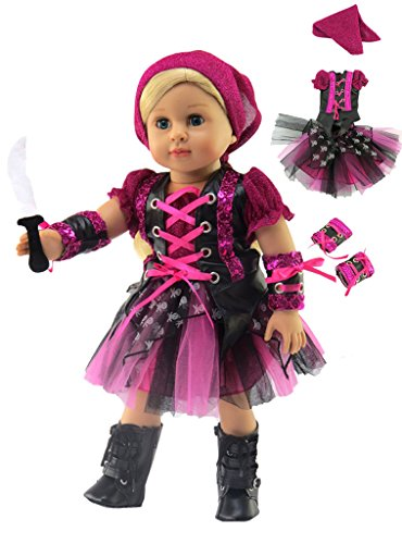 (Punk Rock Pirate Girl Halloween Costume for 18 Inch Dolls | Fits 18