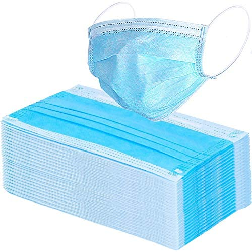 Wecolor 100 Pcs Disposable 3 Ply Earloop Face Masks, Suitable for Home, School, Office and Outdoors (Blue)
