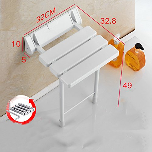 Shower seat,Folding seat Anti-skidding Wall chair Plastic Change shoes Bathroom Rest Corridor Changing shoes-J (Plastic Toilet Wall Seat Mount)