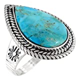 Sterling Silver Genuine Turquoise Ring for Women (10)