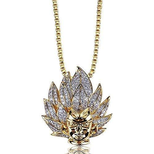 Jewelrysays Hip Hop Men Jewelry CZ Cartoon Super Saiyan Goku Avatar Pendant Necklace for Men (Dragon Ball Z Chain)