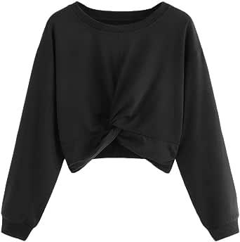 Sudaderas Mujer Tumblr Cortas Chica Adolescente Niña - Color sólido Camiseta Manga Larga Anudado portivo Tops - Modernas Ropa Invierno Otoño 2019