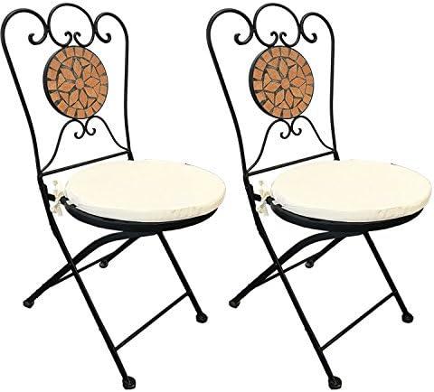 2 sedie pieghevoli a mosaico decorative in terracotta con imbottitura per sedie, colore beige, per interni ed esterni