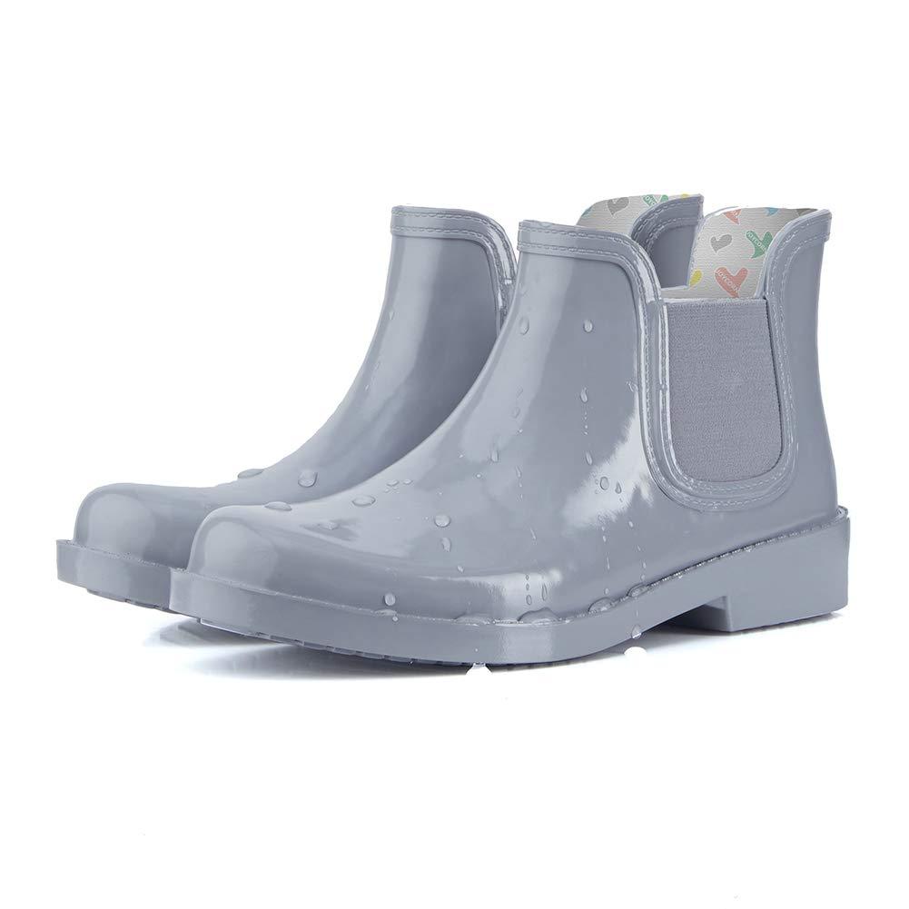 Grey JOYCORN Women's Ankle Chelsea Rain Boots - Waterproof Elastic Slip on Booties