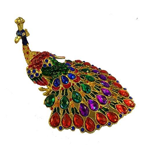 [NEW] Figurine Jewelry Trinket Box Handcrafted Vintage Collectible for Keepsake Art Decor Holder Organizer Pill Box, BeJeweled w/ Swarovski Crystals ( Peacock ) (Peacock - Rainbow Gem 02)