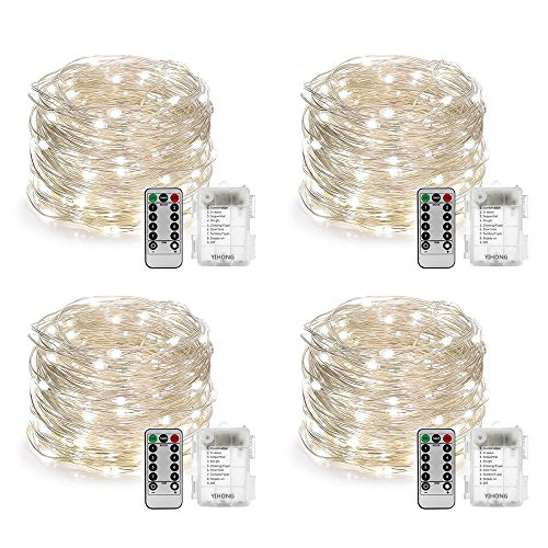 Solar Light Set Hanging (YIHONG 4 Set String Lights Battery Operated Fairy Lights Waterproof 8 Modes 16.4FT 50 LED String Lights Twinkle Fairy Lights with Remote Timer for DIY Bedroom Wedding Easter Party Decor-Daylight White)