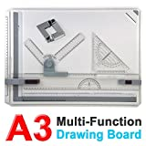 Yaheetech Multi-Function Magnetic Clamping Bar A3 Drawing Board Set Square Graphic Drawing Board 51x37cm
