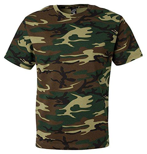Code V Adult Camouflage Ribbed Woodland T-Shirt, Green Woodland, Large