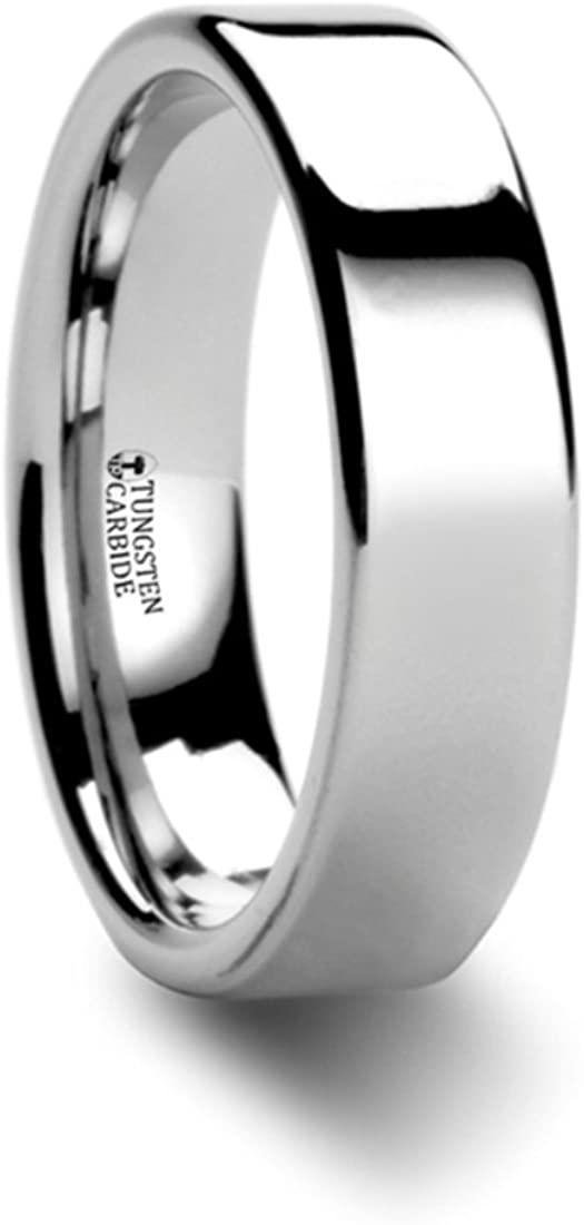 Thorsten BELLATOR Domed with Brushed Center Stripe Polished Tungsten Ring 7mm Wide Wedding Band from Roy Rose Jewelry