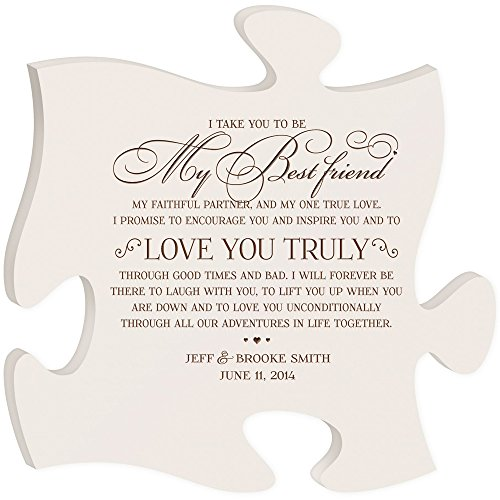 LifeSong Milestones Personalised Wedding Gifts for Bride and Groom I take you to be my best Friend to Love you truly Best Friend Wall Decor Made in USA Wall Art Exclusively from 12x12 (IVORY)