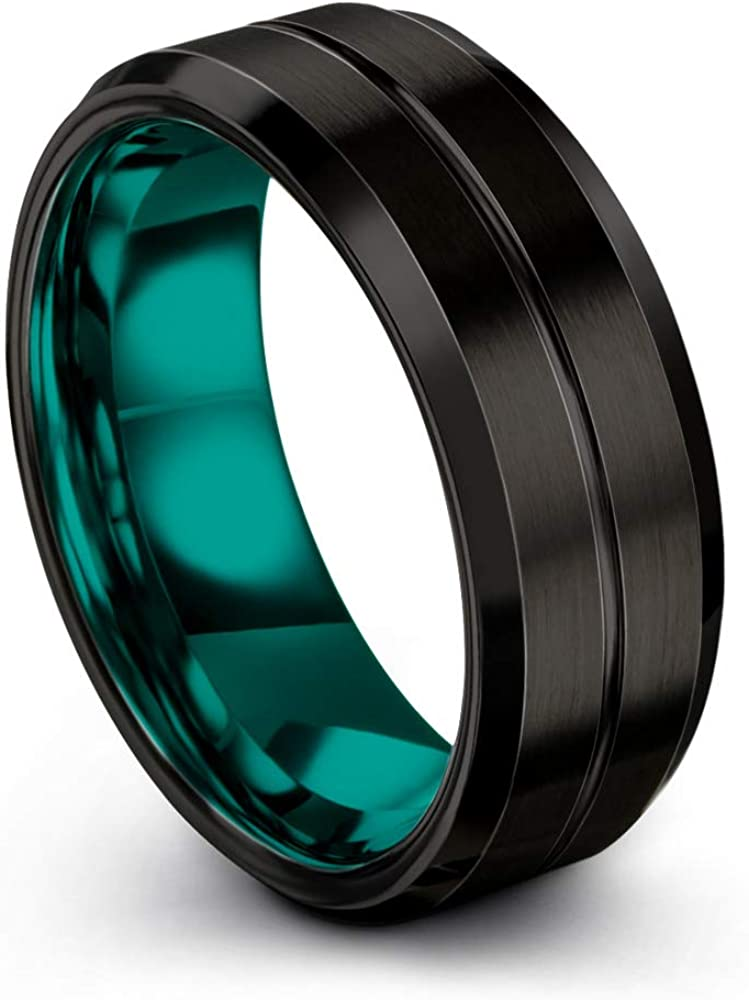 Chroma Color Collection Tungsten Carbide Wedding Band Ring 8mm for Men Women Green Red Blue Purple Black Teal Copper Center Line Bevel Edge Brushed Polished