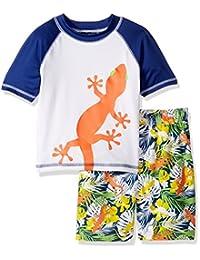 iXtreme Little Boys Swimwear Lizard Rashguard Top Hibiscus Board Swim Trunk Set, Orange, 5