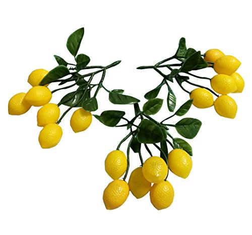 Colorfulife Artificial Plastic Lifelike Mini 6 Fake Fruit Vegetable String Model Party Home Decoration Teaching Props Photo Child Education Fruits House Kitchen Creative Decorative (3, Lemon)