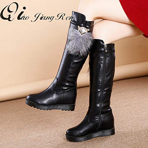 cc32b1a64 Amazon.com  JingZhou Winter Long Boots Thickened Plus Velvet Flat Bottom  Increased high Wedges Women s Side Zipper Leather  Garden   Outdoor