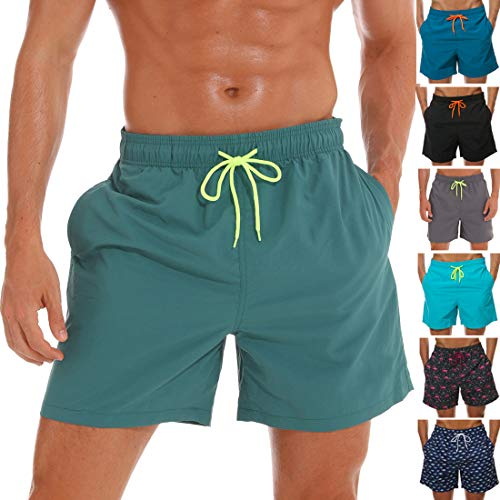 SILKWORLD Men's Swim Trunks Quick Dry Beach Shorts with Pockets, US XL, Darkcyan