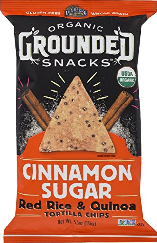 (Lundberg Family Farms Organic Grounded Snacks Cinnamon Sugar Red Rice & Quinoa Tortilla Chips, 5.5 Ounce (Pack of)