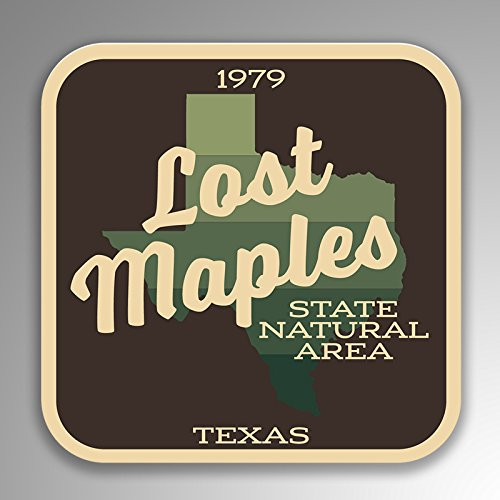 Lost Maples State Natural Area Decal Sticker | 4-Inches by 4-Inches | 5-Pack Premium Quality Vinyl Sticker | UV Protective Laminate | SP139