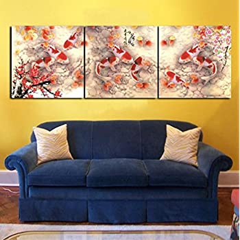 Amazon.com: HD Print Cherry Blossom Koi Fish Painting Canvas wall ...