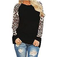 Women Shirts Leopard Blouse Tops Plus Size Casual Long Sleeve Blouse Tunic Girls Sweatshirt Jumper Pullover Tops