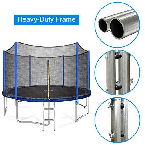 JUPA Kids Trampoline 15FT, TÜV Certificated Outdoor Trampoline with Enclosure Net Jumping Mat Safety Pad, Heavy Duty Round Trampoline for Backyard by JUPA (Image #2)
