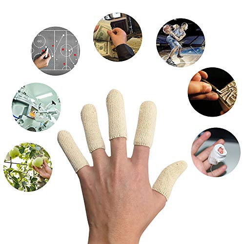 EvridWear Premium Cotton Comfort Cushion Finger Toe Thumb Cot Sleeves Protect Fingertips Hand Eczema Skin Cracking Calluses Wicks Moisture Jewelry Clean Smudges (20PCS) (S/M Sizing)