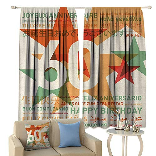 fengruiyanjing 60th Birthday, Window Curtain Drape, World Cities Birthday Party Theme with Abstract Stars Print, Customized Curtains,(W55 x L63 Inch, Green Vermilion and -