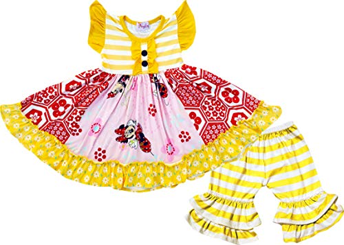 Boutique Toddler Girls Disney Minnie Mouse Ruffles Dress Capri Outfit Red/Yellow 2T/XS