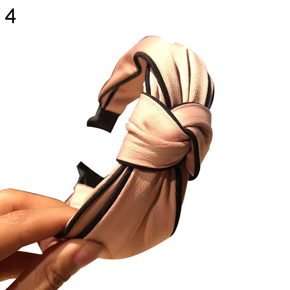 Saniswink Beau et mignon Pince /à cheveux tendance Femme Couleur unie Twist Bowknot Large Bandeau Serre-t/ête Accessoires