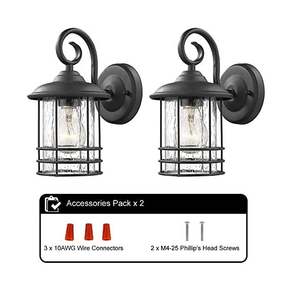 Emliviar 1-Light Outdoor Wall Lantern 2 Pack, Exterior Wall Lamp Light in Black Finish with Clear Seeded Glass -Twin Pack, OS-1803CW1 - Weather resistant and suitable for wet locations, these two pack outdoor wall lights features sturdy metal construction and seeded glass shade Easy installation with open bottom to allow for easy bulb replacement. Includes all mounting hardware Hard wired. Requires 1x E26 base bulb(Max.100W) per light. Bulb NOT included - patio, outdoor-lights, outdoor-decor - 51J43dneMBL. SS570  -