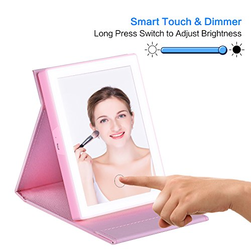 Makeup Mirror, 46 LED Lighted, Cool white, Warm White and Nature 3 Color Adjustable Portable Travel Mirror, Tri-Fold Vanity Mirror, USB Charging Cable Included-Pink (No Magnify)