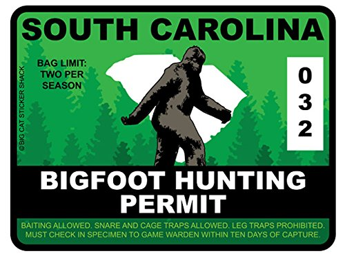 Bigfoot Hunting Permit - SOUTH CAROLINA (Bumper Sticker)