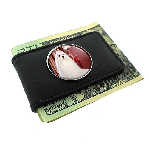 Maltese Money Clip (Dog Maltese Dog 01 Money Clip Leather)