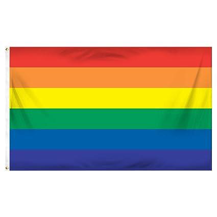 amazon com rainbow printed polyester flag 3ft x 5ft garden outdoor