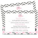 Pink Elephant Baby Shower Thank You Postcard Set of 15