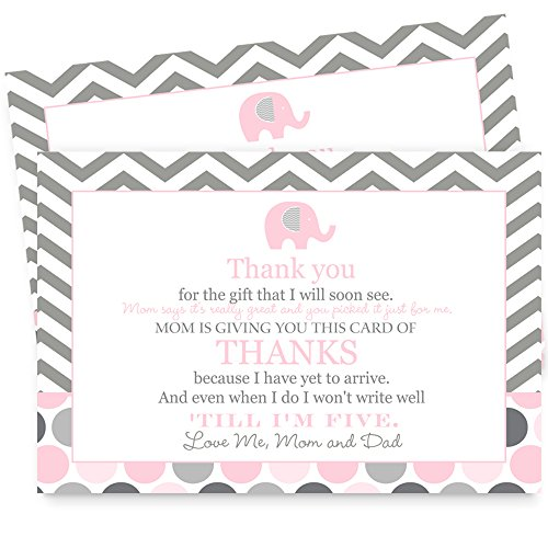 Pink Elephant Baby Shower Thank You Postcard Set of 15 ()
