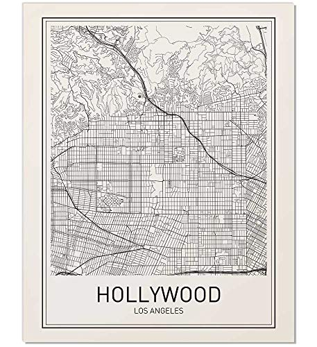 Hollywood Map, Hollywood Poster, Hollywood Map Print, City Map Poster, Hollywood Art, Minimalist Poster, Map Wall Art, Modern Map Art, Scandinavian Poster, Black and White, 8x10